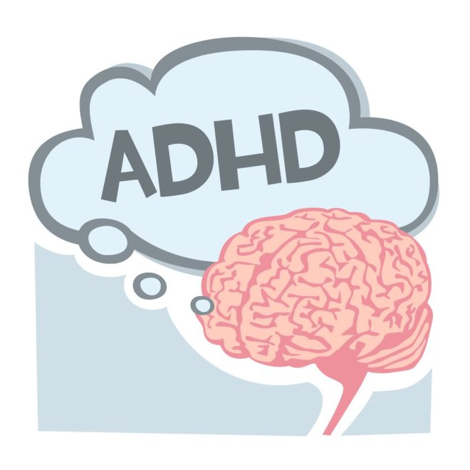 cartoon brain with a thought bubble that says ADHD