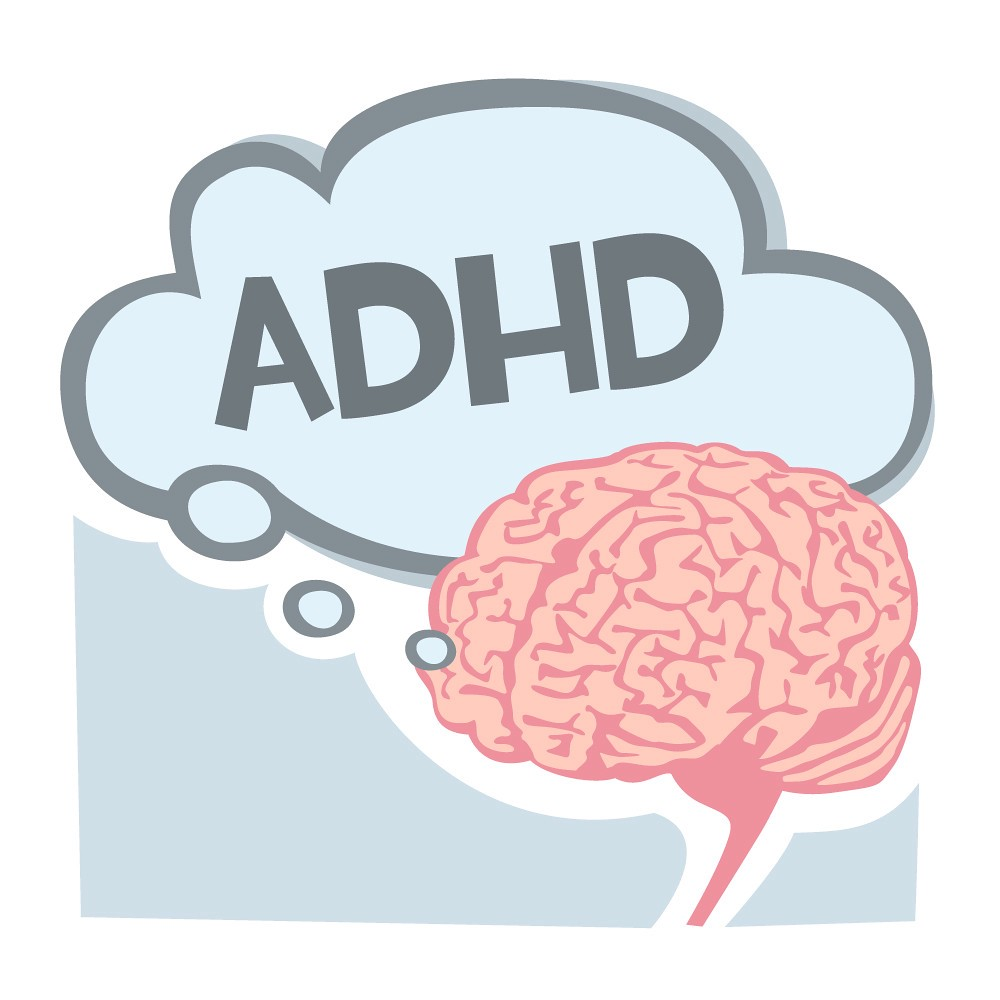cartoon brain with an ADHD thought bubble